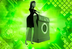 3d woman with washing machine illustration Royalty Free Stock Photo