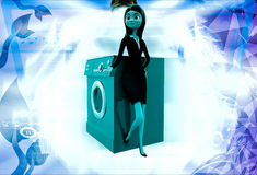 3d woman with washing machine illustration Royalty Free Stock Photos