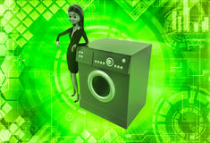 3d woman with washing machine illustration Stock Photo