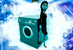 3d woman with washing machine illustration Stock Photos