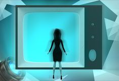 3d woman watch tv conce[t Stock Photography