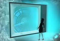 3d woman watch tv conce[t Royalty Free Stock Photos