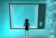 3d woman watch tv conce[t Royalty Free Stock Photo