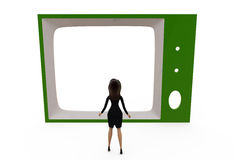 3d woman watch tv conce[t Stock Photo