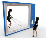 3d woman watching another woman on tv skipping with rope concept Royalty Free Stock Image