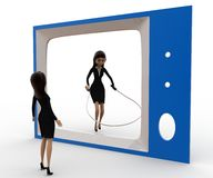 3d woman watching another woman on tv skipping with rope concept Royalty Free Stock Images