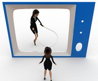 3d woman watching another woman on tv skipping with rope concept Royalty Free Stock Photos