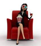 3d woman watching 3d movie in cinema with pop corn bucket  on red sofa concept Royalty Free Stock Photo