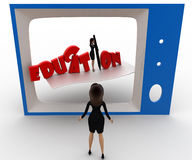 3d woman watching educational program on tv concept Royalty Free Stock Photo