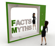 3d woman watching fact and myths on tv concept Stock Image