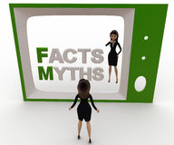 3d woman watching fact and myths on tv concept Stock Photography