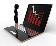 3d woman watching graph on laptop concept Stock Images