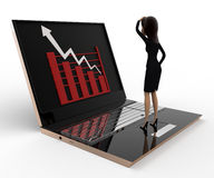 3d woman watching graph on laptop concept Royalty Free Stock Photos