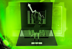 3d woman watching graph on laptop illustration Royalty Free Stock Images