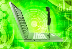 3d woman watching graph on laptop illustration Stock Photography