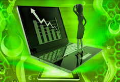 3d woman watching graph on laptop illustration Royalty Free Stock Photo