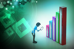 3d woman watching the graph moving to success. In color background Royalty Free Stock Photo
