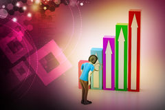 3d woman watching the graph moving to success. In color background Royalty Free Stock Photography