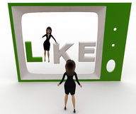 3d woman watching like on tv concept Stock Images
