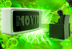 3d woman watching moview on big television illustration Stock Photography
