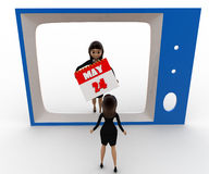 3d woman watching woman with calender on tv concept Royalty Free Stock Photo