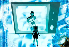 3d woman watching woman with calender on tv illustration Royalty Free Stock Image