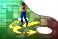 3d woman ways illustration Stock Photo