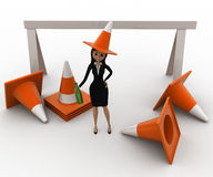 3d woman wear traffic cone as hat and with many traffic cone concept Royalty Free Stock Photo