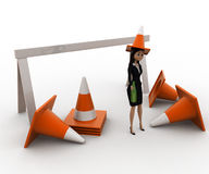 3d woman wear traffic cone as hat and with many traffic cone concept Royalty Free Stock Image