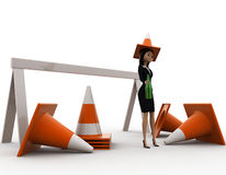 3d woman wear traffic cone as hat and with many traffic cone concept Royalty Free Stock Photos