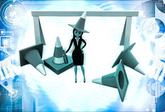 3d woman wear traffic cone as hat and with many traffic cone illustration Stock Photo