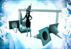 3d woman wear traffic cone as hat and with many traffic cone illustration Stock Photos
