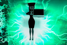 3d woman wearing graduation hat and present on laptop illustration Stock Photo