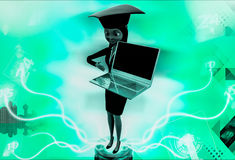 3d woman wearing graduation hat and present on laptop illustration Royalty Free Stock Photography