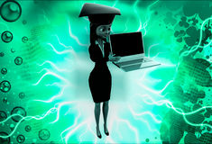 3d woman wearing graduation hat and present on laptop illustration Stock Photos