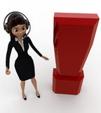 3d woman wearing headphone and with exclamation mark concept Royalty Free Stock Photo