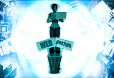 3d woman with web hosting sing board illustration Royalty Free Stock Photography