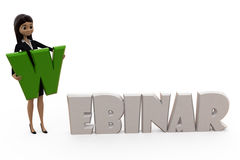 3d character with webinar text concept Royalty Free Stock Photography