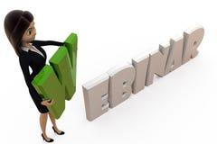 3d woman with webinar concept Stock Photos