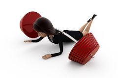 3d woman weight lift concept Stock Images