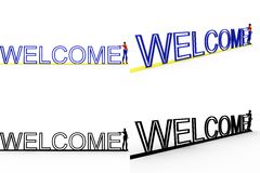 3d woman welcome Concept Collections With Alpha And Shadow Channel Royalty Free Stock Photo