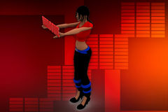 3D woman welcome illustration Royalty Free Stock Images
