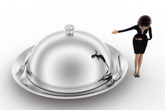 3d woman welcome and present big dish with food concept Royalty Free Stock Image