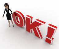 3d woman welcoming and standing in front OK text with exclamation mark concept Royalty Free Stock Photos