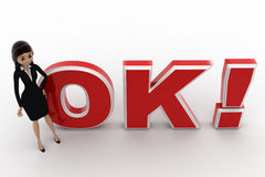 3d woman welcoming and standing in front OK text with exclamation mark concept Stock Image