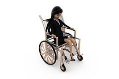 3d woman on wheel chair concept Royalty Free Stock Image