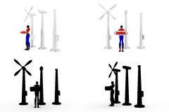 3d woman with windmill Concept Collections With Alpha And Shadow Channel Royalty Free Stock Photos