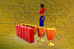 3d woman winillustraton Royalty Free Stock Photography