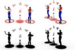 3d woman wireless Concept Collections With Alpha And Shadow Channel Royalty Free Stock Image