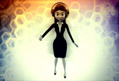 3d woman wishing luck illustration Stock Photography